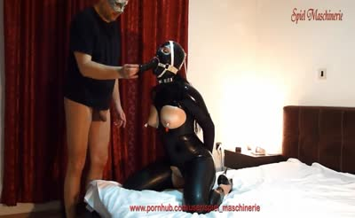 Black latex slut with ring gag deepthroating cock, dildo and fucked hard