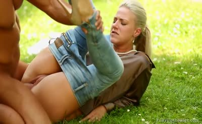 sex on Grass outdoors and Satin clothed  Passion