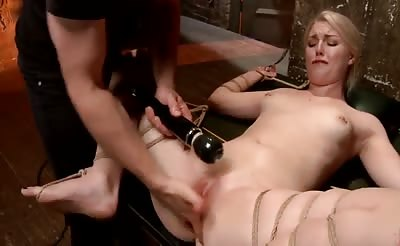 cute blonde squirts tied with rope bdsm