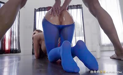 hot oiled Nikki Benz get fucked in her  Pantyhose