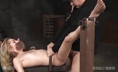 pettite blonde takes huge bdsm dick